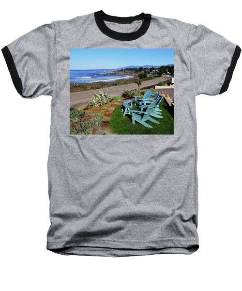 Baseball T-Shirt featuring the photograph Moonstone Beach Seat With A View by Barbara Snyder