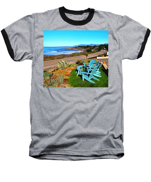 Baseball T-Shirt featuring the photograph Moonstone Beach Seat With A View Digital Painting by Barbara Snyder