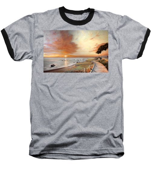 Baseball T-Shirt featuring the painting Moonstone Cambria Sunset by Michael Rock