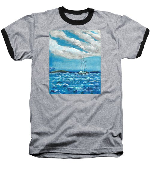 Moored In The Bay Baseball T-Shirt by J R Seymour