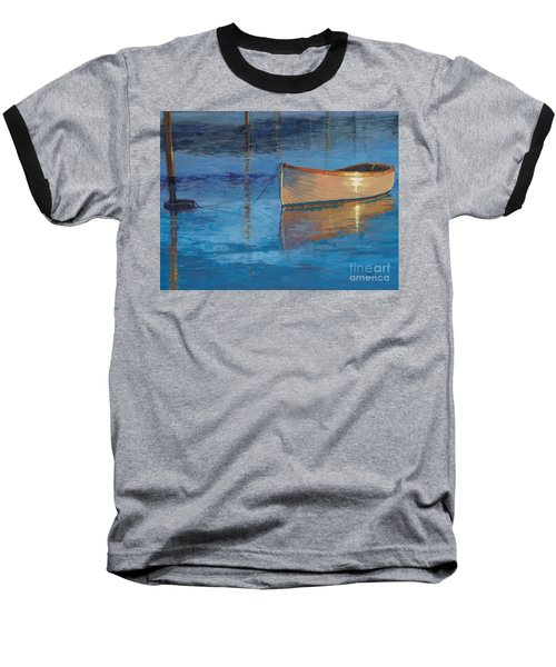 Moored In Light-sold Baseball T-Shirt by Nancy Parsons