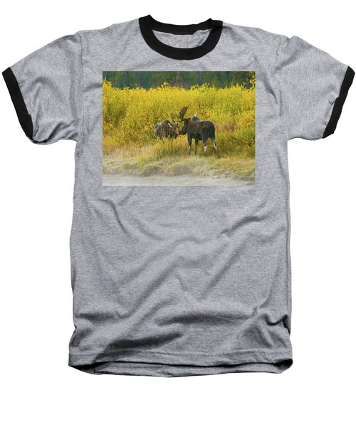 Baseball T-Shirt featuring the photograph Moose Couple by Wesley Aston