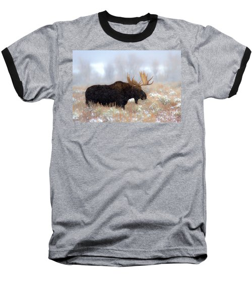 Baseball T-Shirt featuring the photograph Moose In The Fog Silhouette by Adam Jewell