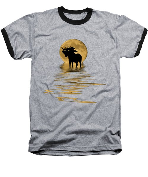 Moose In The Moonlight Baseball T-Shirt by Shane Bechler