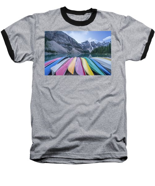 Moraine Lake Colors Baseball T-Shirt by Alpha Wanderlust