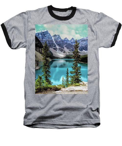 Moraine Lake Baseball T-Shirt by Lynn Bolt