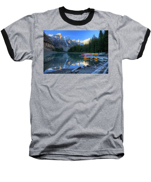 Moraine Lake Sunrise Blue Skies Canoes Baseball T-Shirt