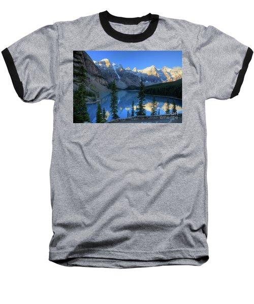 Moraine Lake Sunrise Blue Skies Baseball T-Shirt
