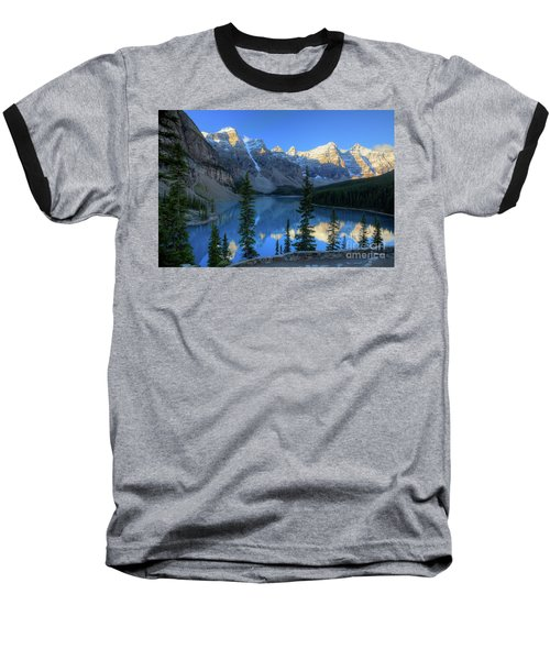 Moraine Lake Sunrise Blue Skies Baseball T-Shirt