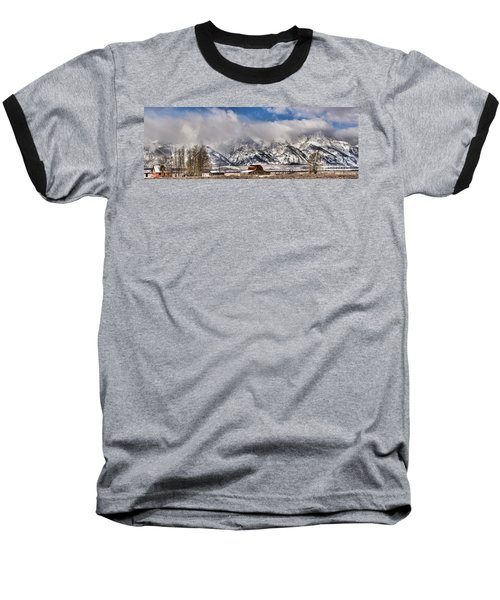 Baseball T-Shirt featuring the photograph Mormon Row Early Winter Panorama by Adam Jewell