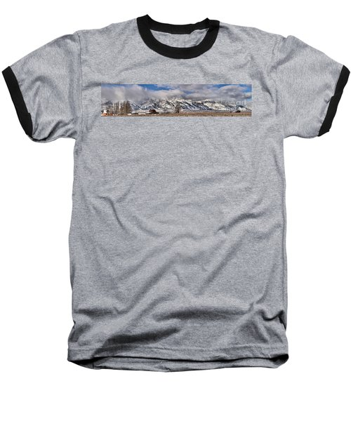 Baseball T-Shirt featuring the photograph Mormon Row Snowy Extended Panorama by Adam Jewell