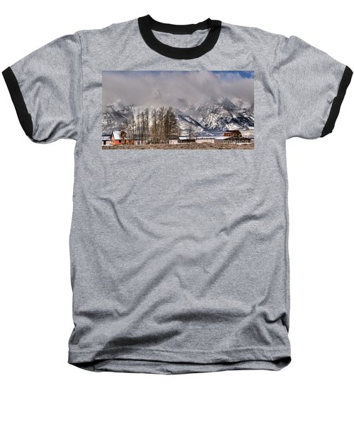 Baseball T-Shirt featuring the photograph Mormon Row Winter Morning Panorama by Adam Jewell