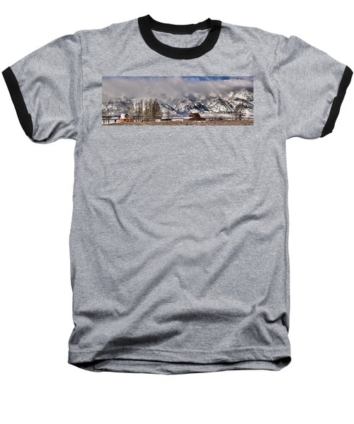 Baseball T-Shirt featuring the photograph Mormon Row Winter Panorama by Adam Jewell