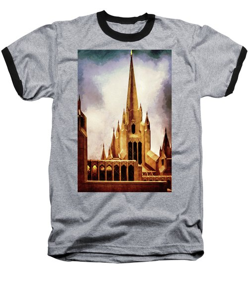 Mormon Temple Steeple Baseball T-Shirt by Joseph Hollingsworth