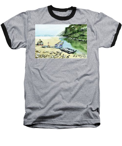 Baseball T-Shirt featuring the painting Morning At Porto Novo Beach by Dora Hathazi Mendes