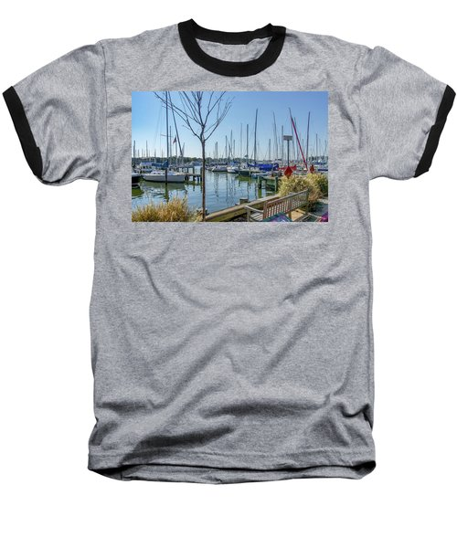 Baseball T-Shirt featuring the photograph Morning At The Marina by Charles Kraus