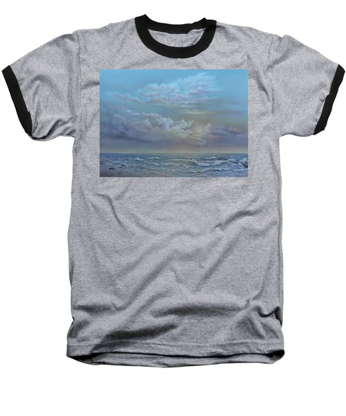 Baseball T-Shirt featuring the painting Morning At The Ocean by Luczay