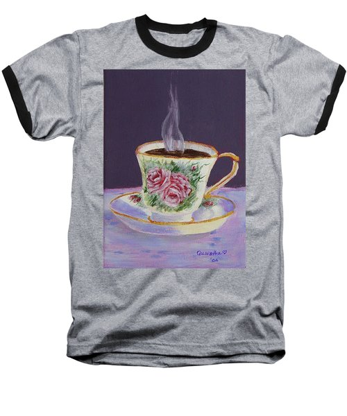Baseball T-Shirt featuring the drawing Morning Coffee by Quwatha Valentine