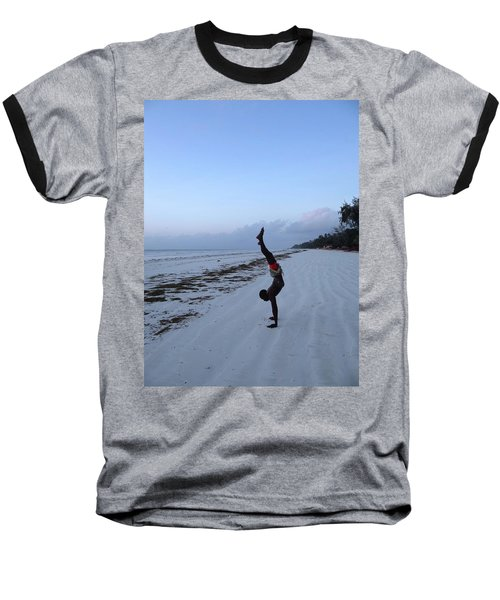 Morning Exercise On The Beach Baseball T-Shirt