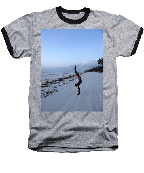 Morning Exercise On The Beach Baseball T-Shirt
