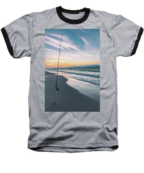 Baseball T-Shirt featuring the photograph Morning Fishing At The Beach  by John McGraw
