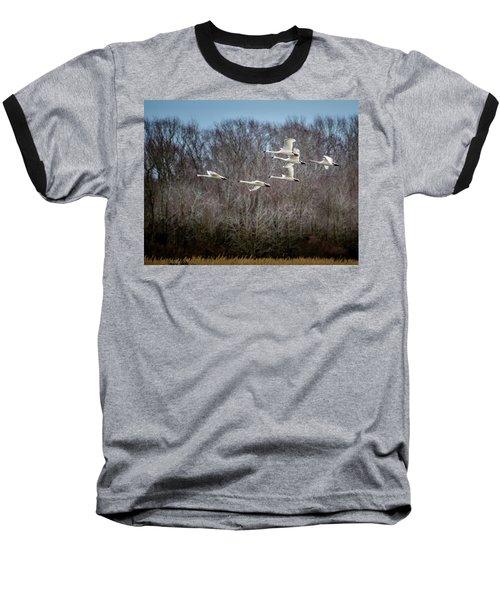 Morning Flight Of Tundra Swan Baseball T-Shirt