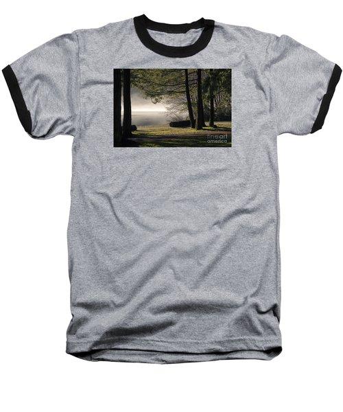 Baseball T-Shirt featuring the photograph Morning Fog by Inge Riis McDonald