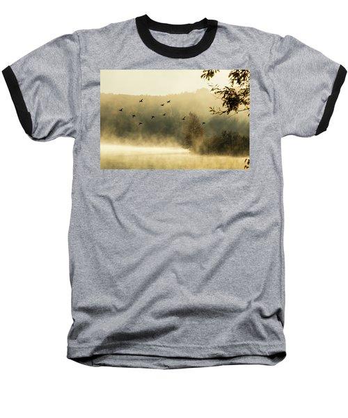 Morning Fog On Haley Pond In Rangeley Maine Baseball T-Shirt