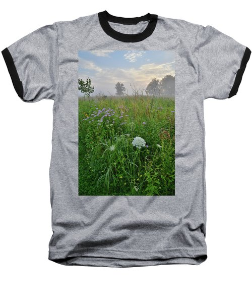 Morning Fog Over Glacial Park Prairie Baseball T-Shirt