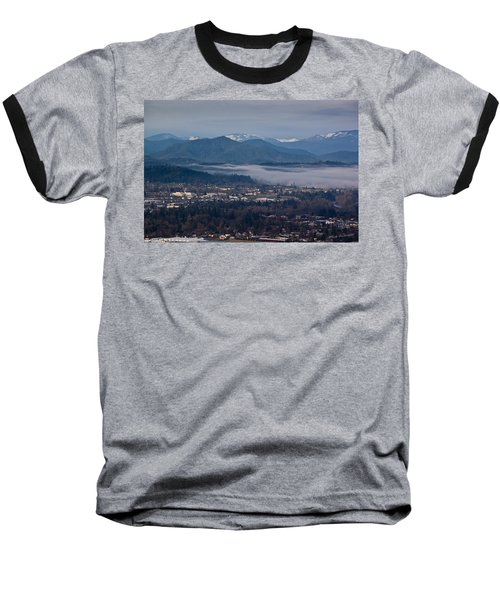 Morning Fog Over Grants Pass Baseball T-Shirt by Mick Anderson
