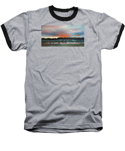 Morning Fog Silver Star  Baseball T-Shirt