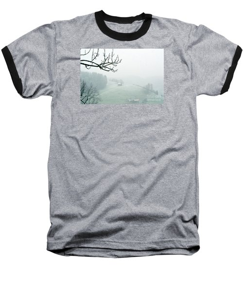 Baseball T-Shirt featuring the photograph Morning Fog - Winter In Switzerland by Susanne Van Hulst