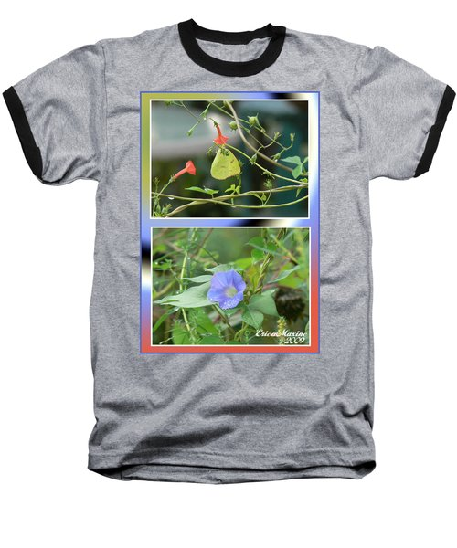 Morning Glories And Butterfly Baseball T-Shirt by EricaMaxine  Price