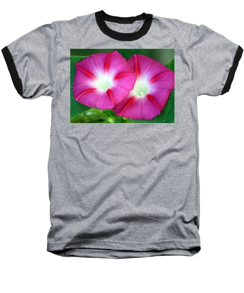 Baseball T-Shirt featuring the photograph Morning Glories by Sheila Brown
