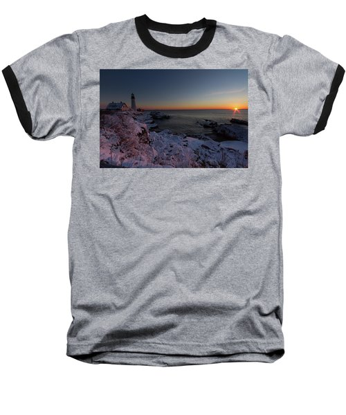 Morning Glow At Portland Headlight Baseball T-Shirt