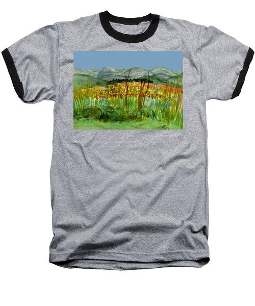 Baseball T-Shirt featuring the painting Morning In Backyard At Barton by Donna Walsh