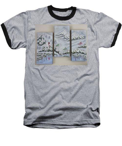 Morning Mist Triptych Baseball T-Shirt