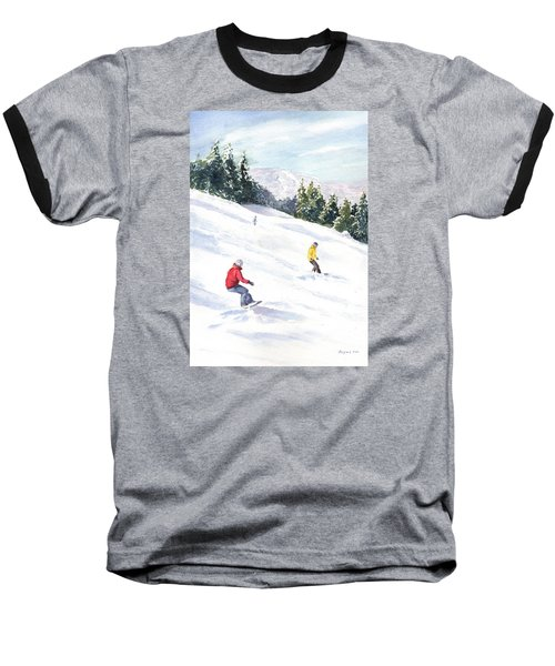 Baseball T-Shirt featuring the painting Morning On The Mountain by Vikki Bouffard