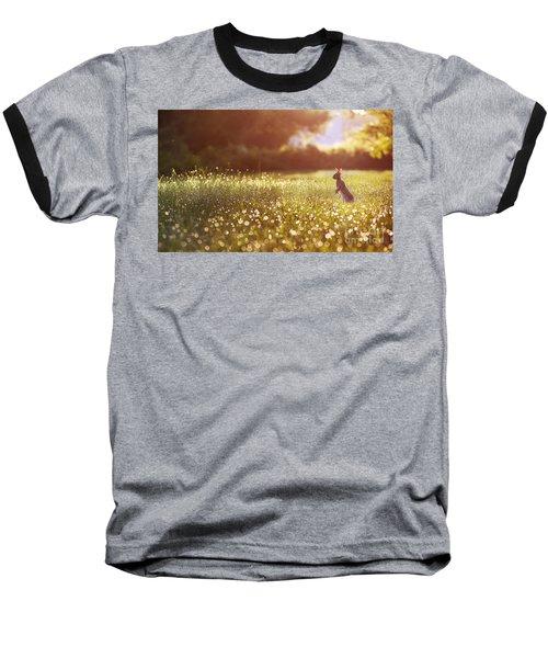Morning Rabbit Baseball T-Shirt by Rima Biswas