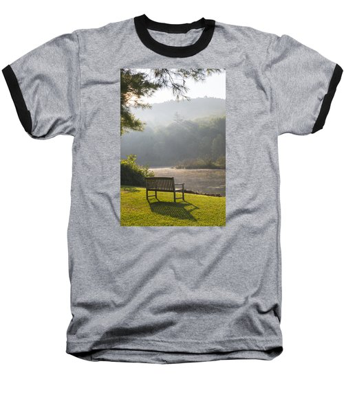 Morning Rays On The Pond And Bench Baseball T-Shirt