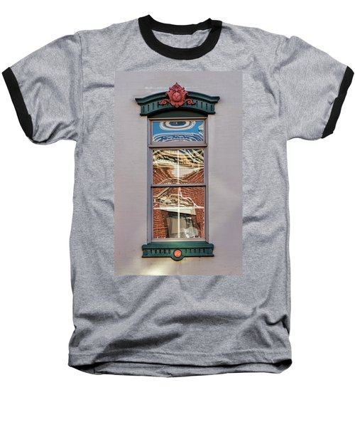 Morning Reflection In Window Baseball T-Shirt by Gary Slawsky