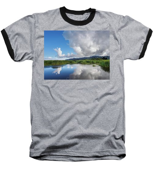 Baseball T-Shirt featuring the photograph Morning Reflections On A Marsh Pond by Greg Nyquist