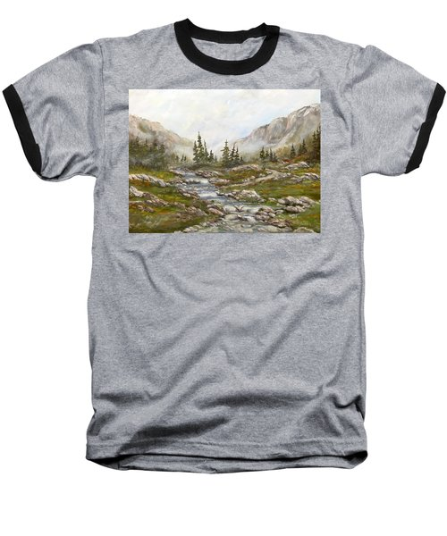 Baseball T-Shirt featuring the painting Morning Rising Fog by Dorothy Maier