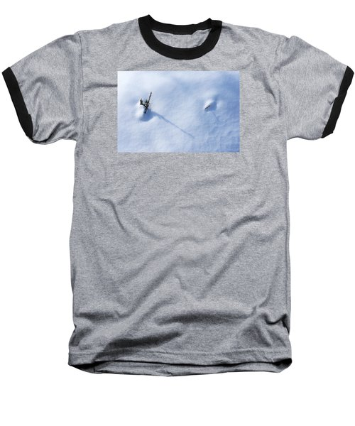 Morning Shadows On The Snow Baseball T-Shirt