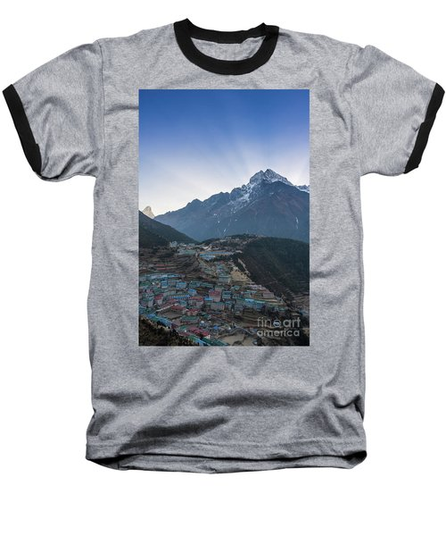 Baseball T-Shirt featuring the photograph Morning Sunrays Namche by Mike Reid