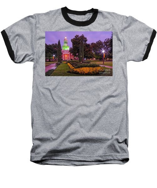 Morning Twilight Shot Of Pat Neff Hall From Founders Mall At Baylor University - Waco Central Texas Baseball T-Shirt