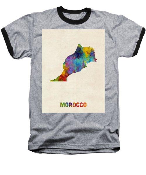 Baseball T-Shirt featuring the digital art Morocco Watercolor Map by Michael Tompsett