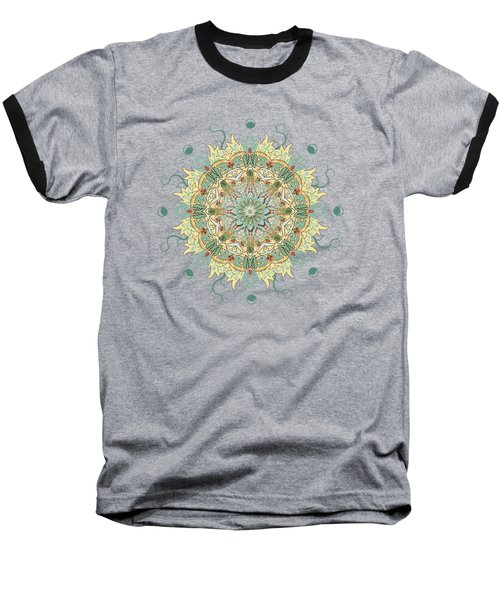 Morris Artful Garden Mandala Baseball T-Shirt by Deborah Smith