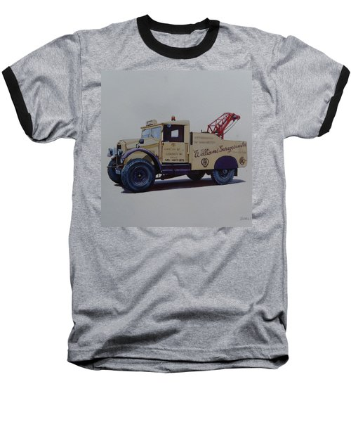 Baseball T-Shirt featuring the painting Morris Commercial Wrecker. by Mike Jeffries