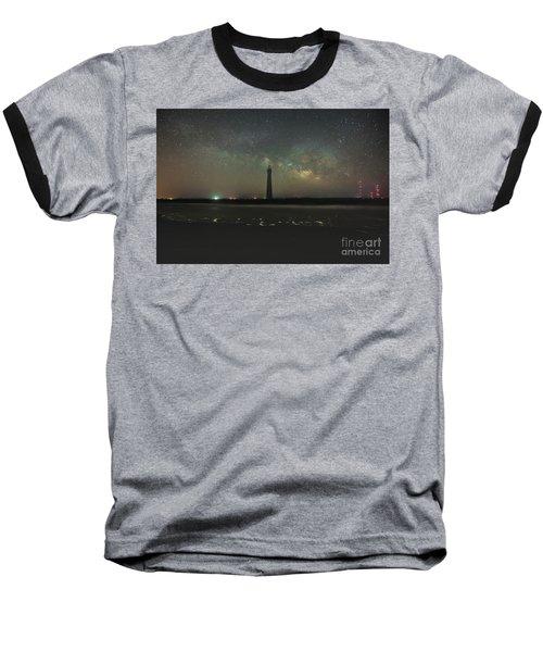 Morris Island Light House Milky Way Baseball T-Shirt by Robert Loe